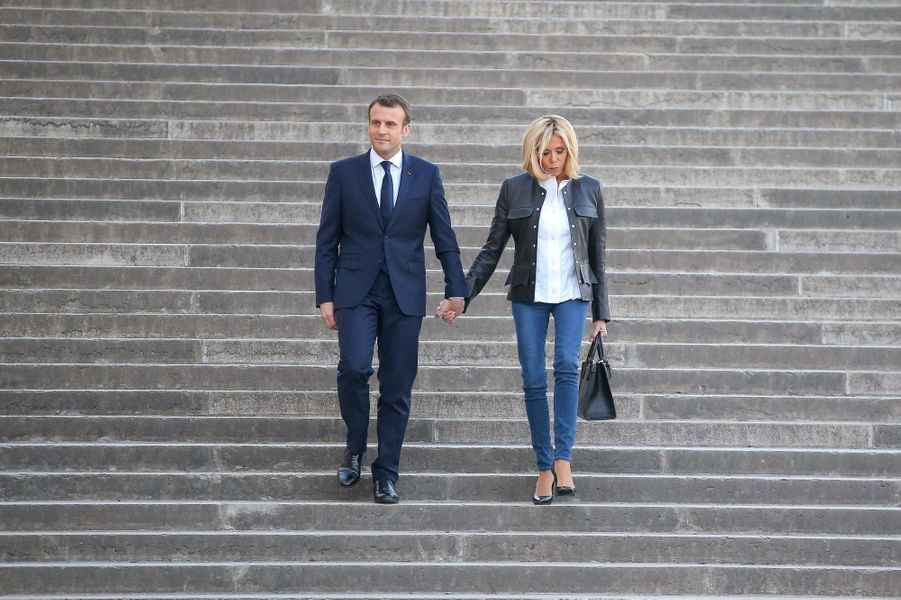 Arrivée d'Emmanuel et Brigitte Macronau Palais de Chaillot.