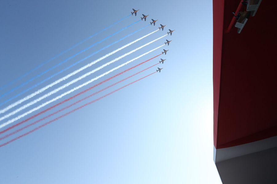 La patrouille de France lors de l'hommage aux victimes de Nice.