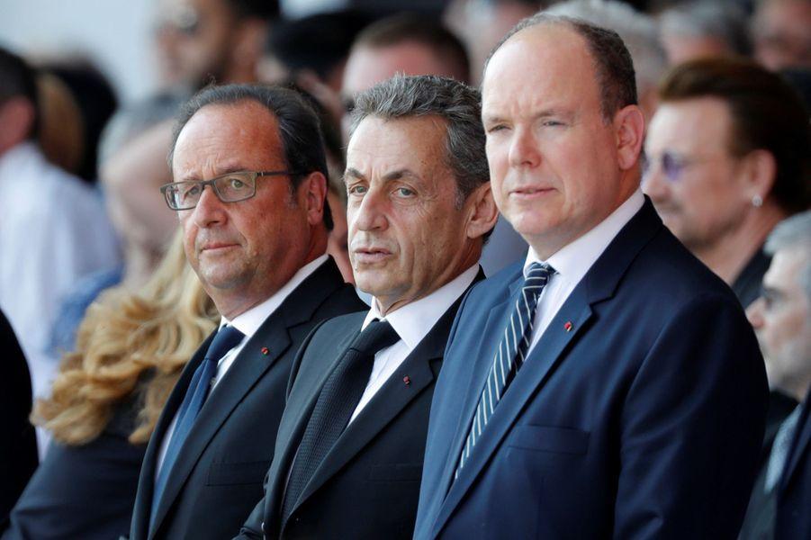 François Hollande, Nicolas Sarkozy et le prince Albert ensembleà l'hommage aux victimes de l'attentat de Nice.
