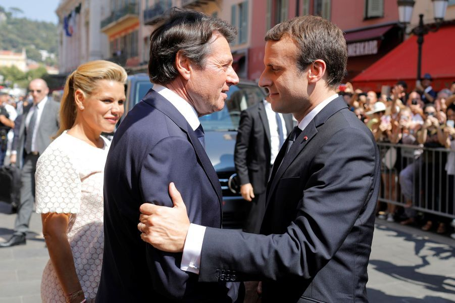 Christian Estrosi accueille Emmanuel Macron.