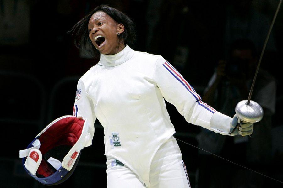 Laura Flessel en 2004 aux Jeux d'Athènes.