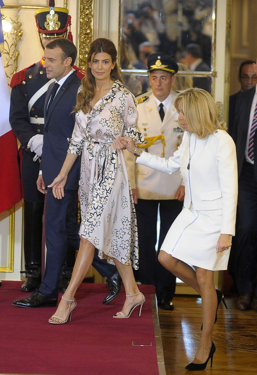 Emmanuel Macron avec Brigitte Macron et la première dame argentine, Juliana Awada.