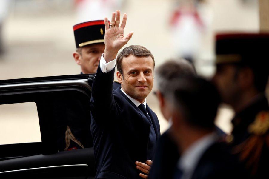 Emmanuel Macron à son arrivée à l'Elysée