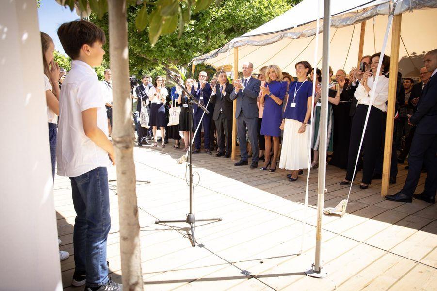 Brigitte Macron,à la réunion du G7 Educationpour évoquer la lutte contre le harcèlement scolaire.