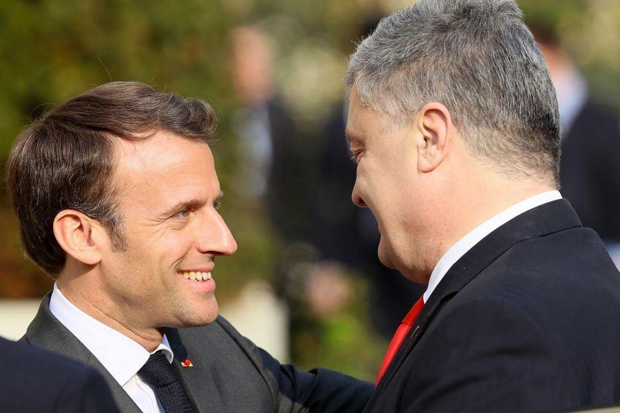 Lors de la rencontre entre Emmanuel Macron et Petro Porochenko à l'Elysée, le 12 avril 2019.
