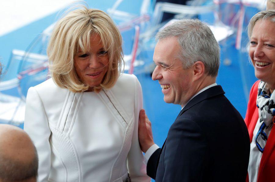 François de Rugy et Brigitte Macron, dimanche lors du défilé du 14-Juillet.