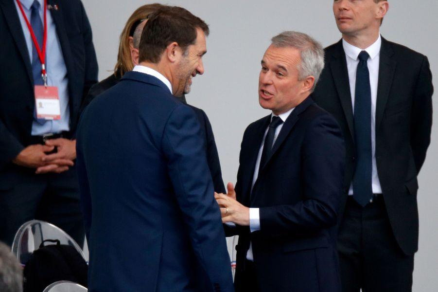 François de Rugy en compagnie de Christophe Castaner en tribune officielle.