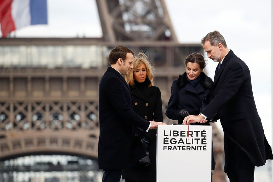 Brigitte et Emmanuel Macron avec Felipe et Letizia d'Espagne