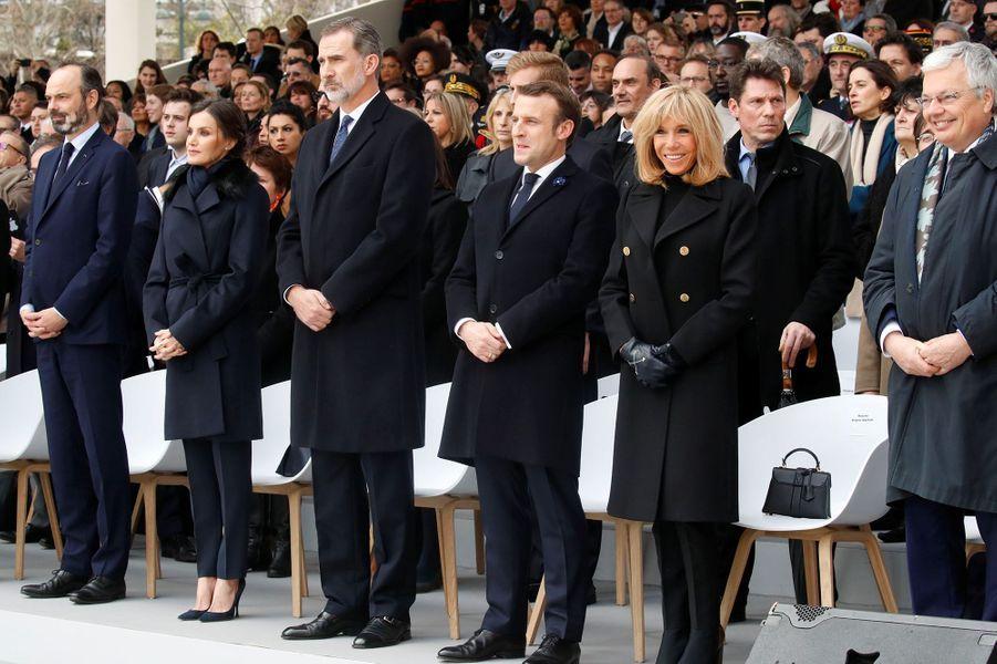 Edouard Philippe, la reine et le roi d'Espagne, Emmanuel et Brigitte Macron