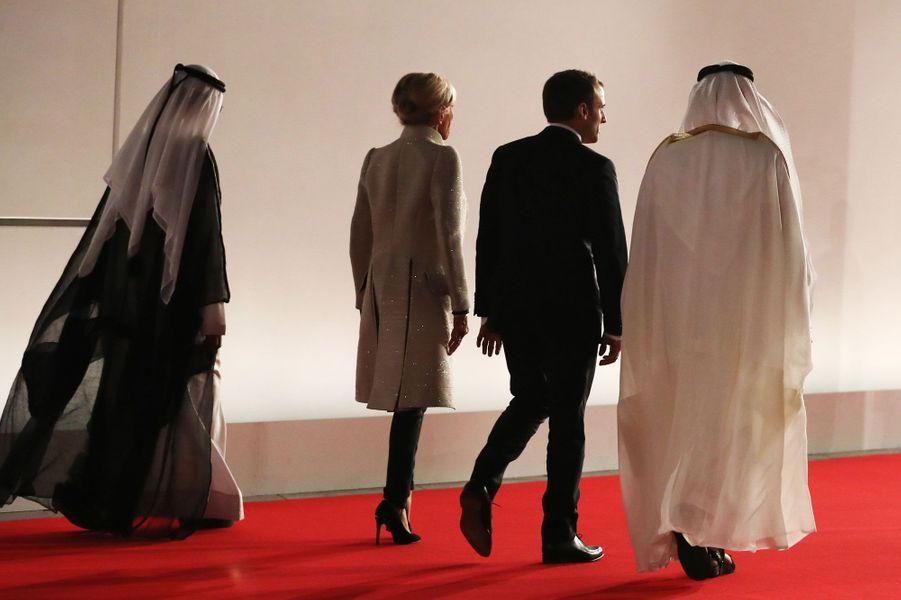 Emmanuel et Brigitte Macron à l'inauguration du musée du Louvre d'Abu Dhabi, le 8 novembre 2017