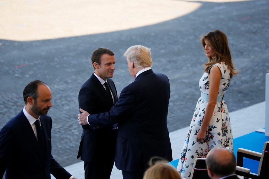 Emmanuel Macron et Donald Trump lors des festivités du 14 Juillet