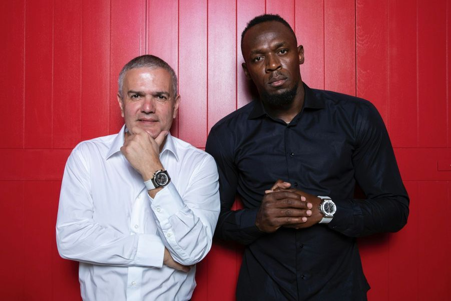Ricardo Guadalupe, CEO de Hublot, aux côtés d'Usain Bolt, ambassadeur de la maison, réunis à l'occasion du lancement des montres éditées en collaboration avec l'Eden Rock.