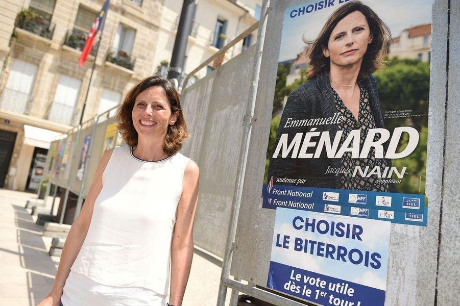 Emmanuelle Ménard, la femme du maire pro-FN de Béziers Robert Ménard, a été élue dimanche députée FN dans la 6e circonscription de l'Hérault.