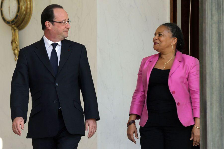 4. La réforme du «mariage pour tous»Francois Hollande et Christiane Taubira à l'Elysée le 24 avril 2013, lendemain de l'adoption définitive à l'Assembléedu «mariage pour tous».