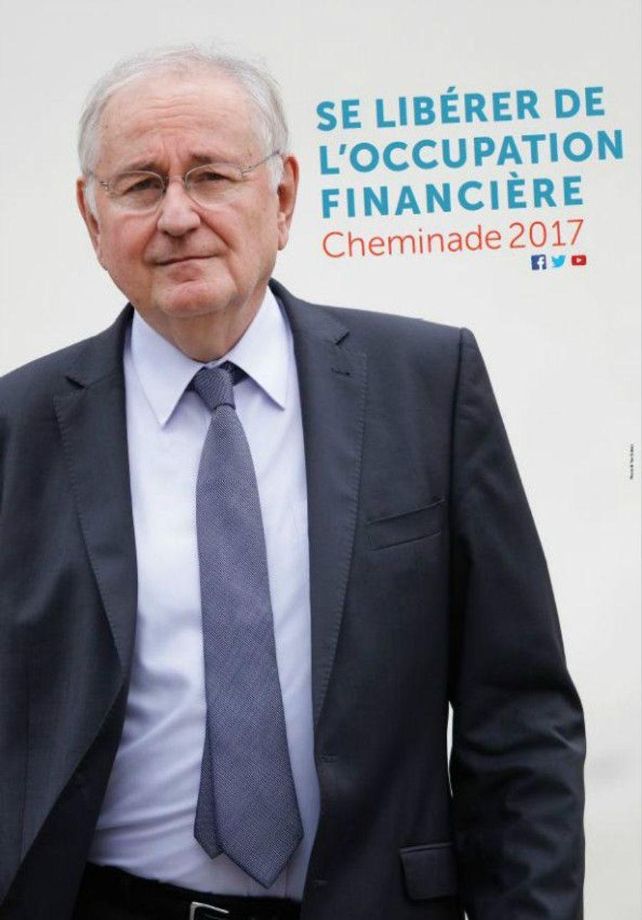 Fidèle à lui-même, le vétéran des élections présidentielles Jacques Cheminade propose une affiche sobre, toute en tons neutres, avec un slogan : «Se libérer de l'occupation financière».