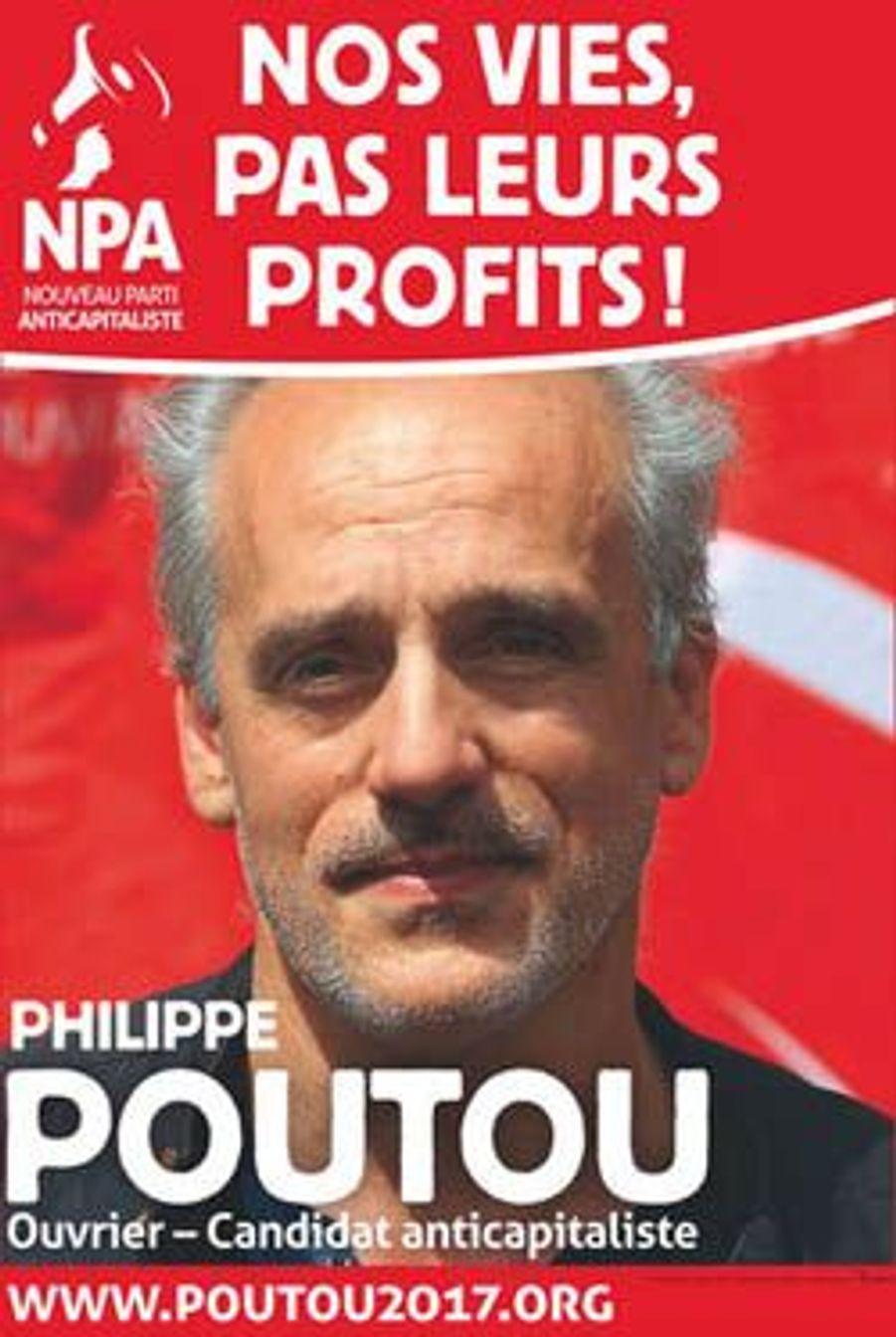 Même code couleur rouge et blanc pour Philippe Poutou, qui reprend et raccourcit le slogan de campagne d'Olivier Besancenot : «Nos vies, pas leurs profits!»