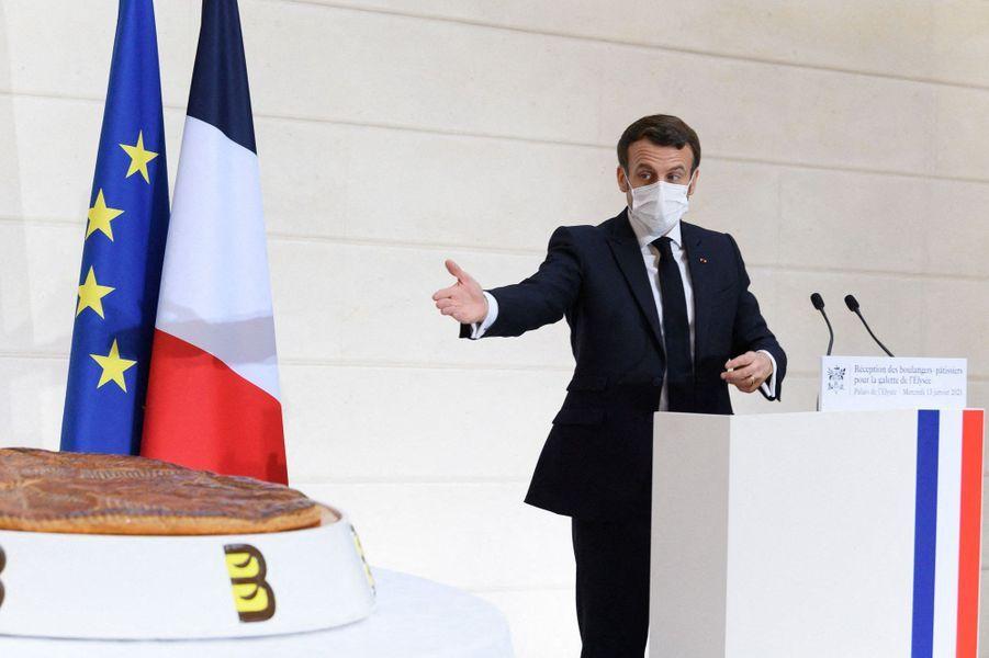 Emmanuel Macron mercredi lors de la galette de l'Elysée.