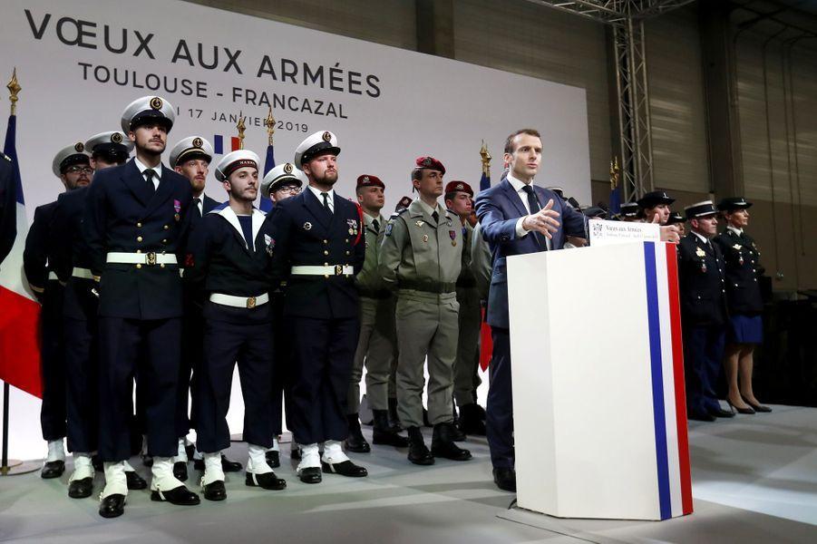 Emmanuel Macron lors de ses voeux aux armées jeudi.