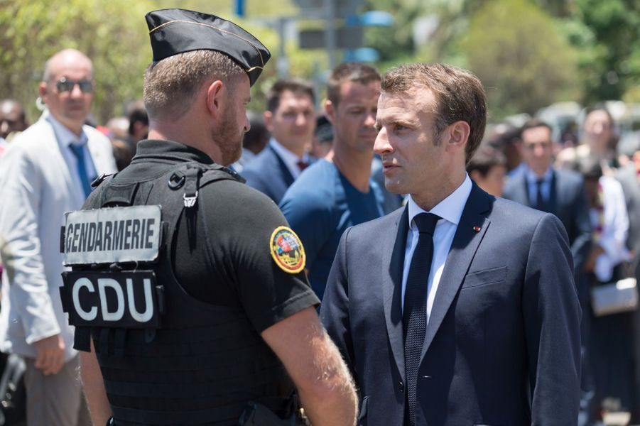 Emmanuel Macron àMamoudzou, mardi.