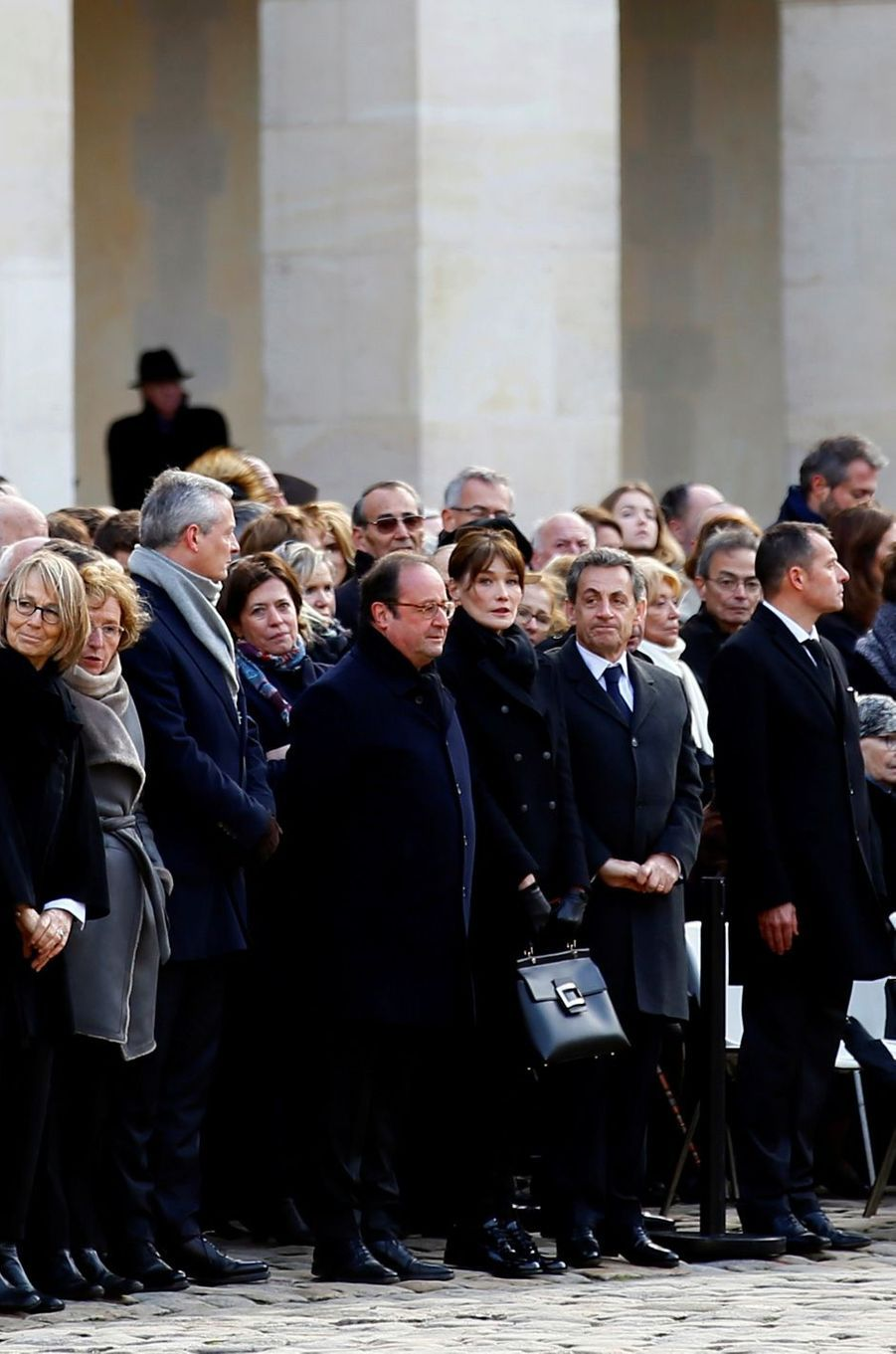 François Hollande, Nicolas Sarkozy et Carla Bruni-Sarkozy à l'hommage national en l'honneur de Jean d'Ormesson.