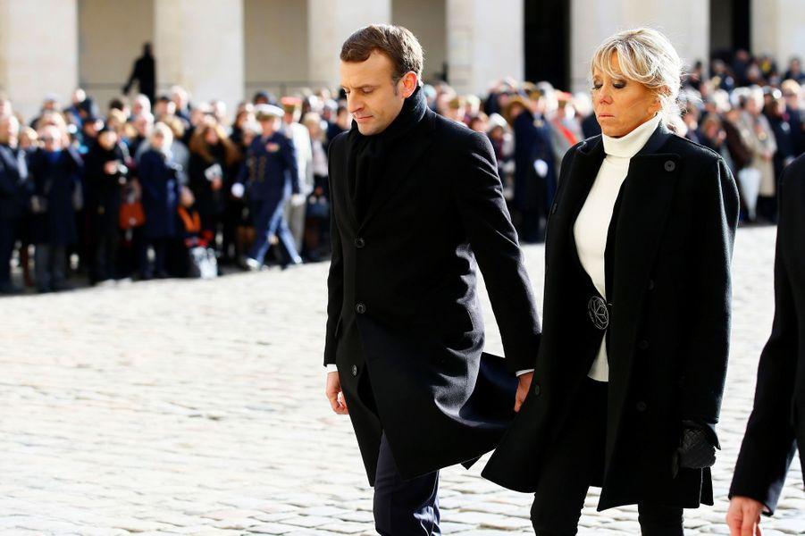 Emmanuel et Brigitte Macron lors de l'hommage national à Jean d'Ormesson.