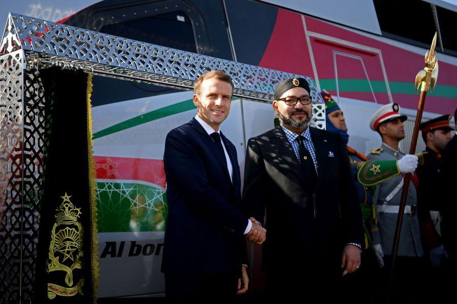 Emmanuel Macronavec le roiMohammed VI à l'arrivée à Rabat.