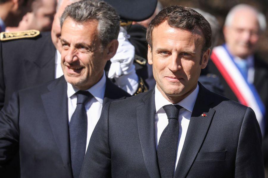 Nicolas Sarkozy et Emmanuel Macrondimanche matin sur le plateau des Glières, en Haute-Savoie.