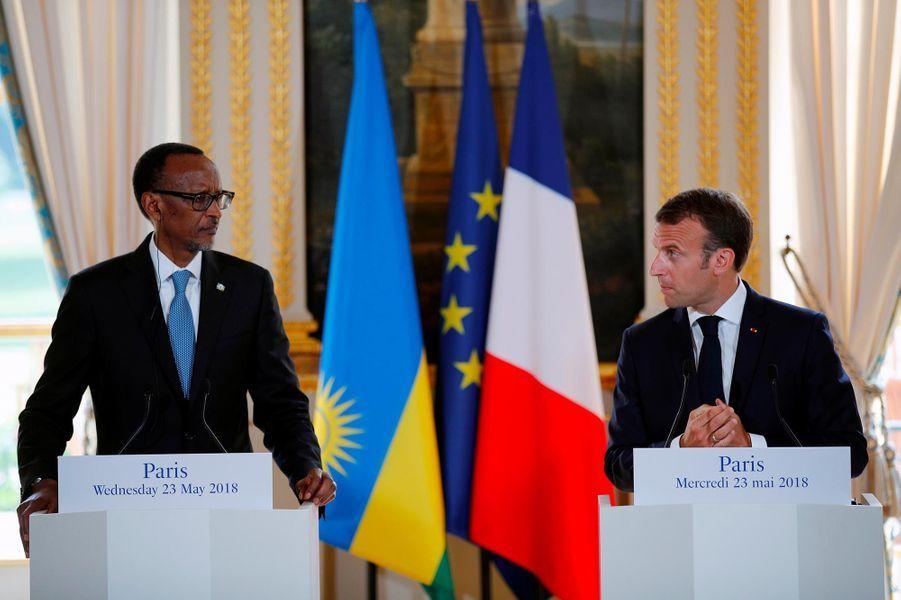 Paul Kagame et Emmanuel Macronà l'Elysée, le 23 mai 2018.