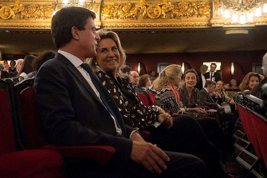 Manuel Valls et Susana Gallardo au grand théâtre du Liceu à Barcelone le 5 octobre 2018