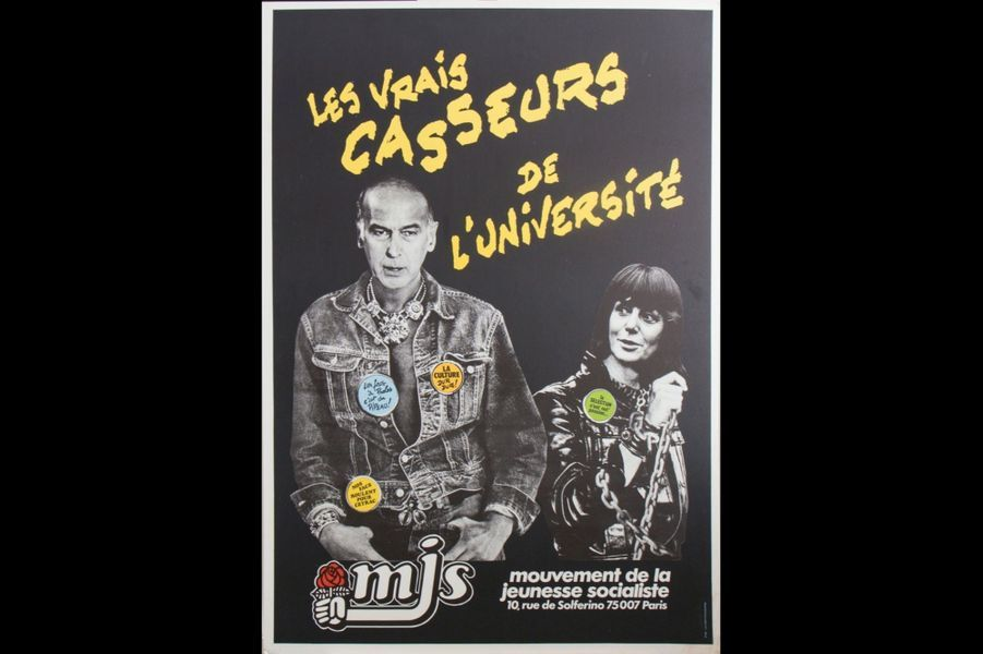 Giscard transformé en loubard par les jeunes socialistes en 1981.