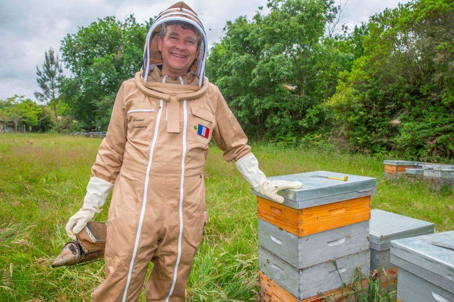 Arnaud Montebourg parmi les ruches, àPontenx-les-Forges, en juin dernier.