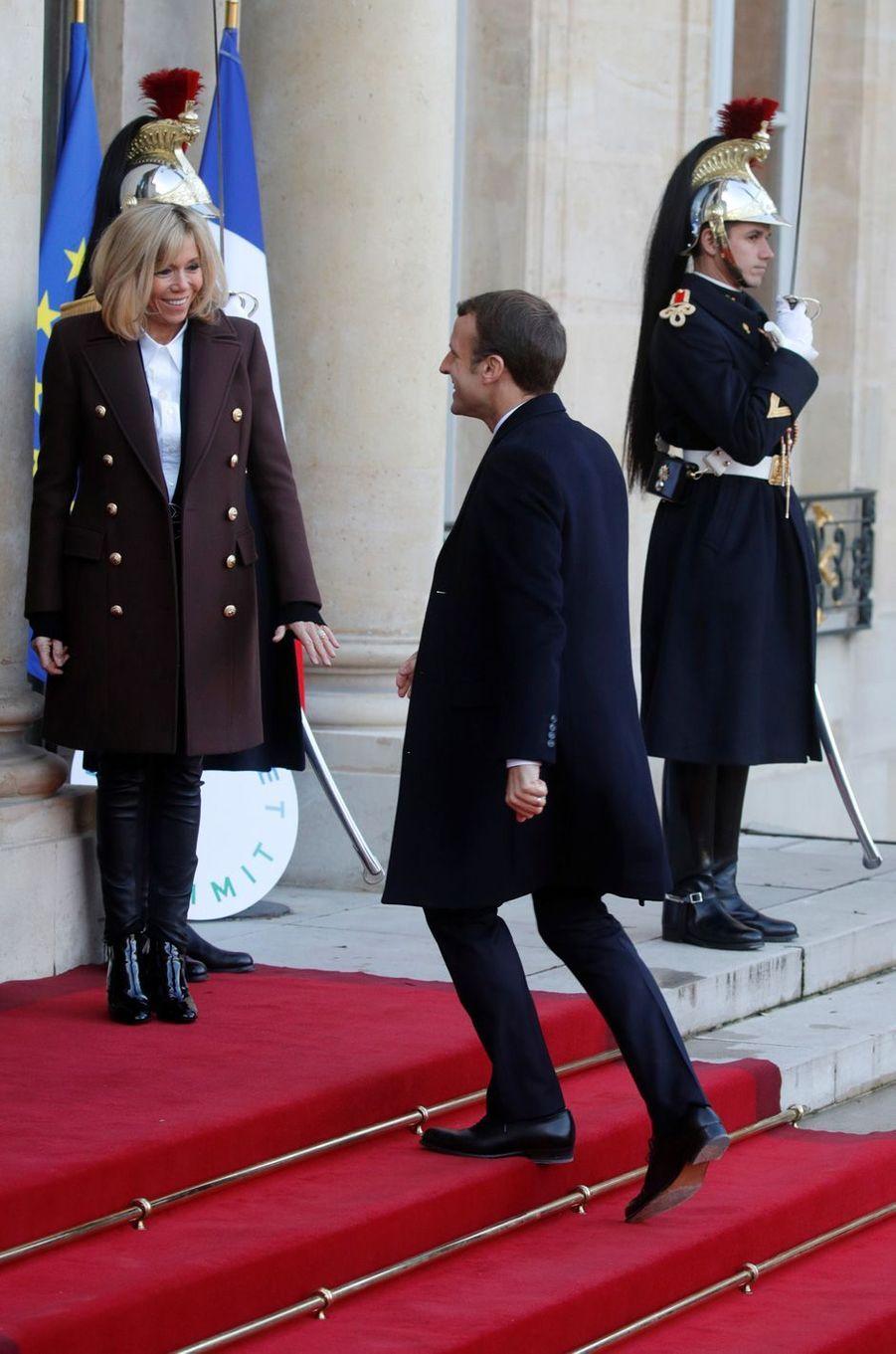 Brigitte et Emmanuel Macron mardi à l'Elysée.