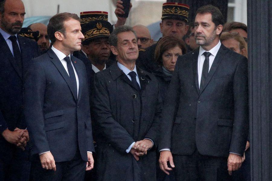 Emmanuel Macron et Christophe Castaner lors de l'hommage aux quatre policiers tués.