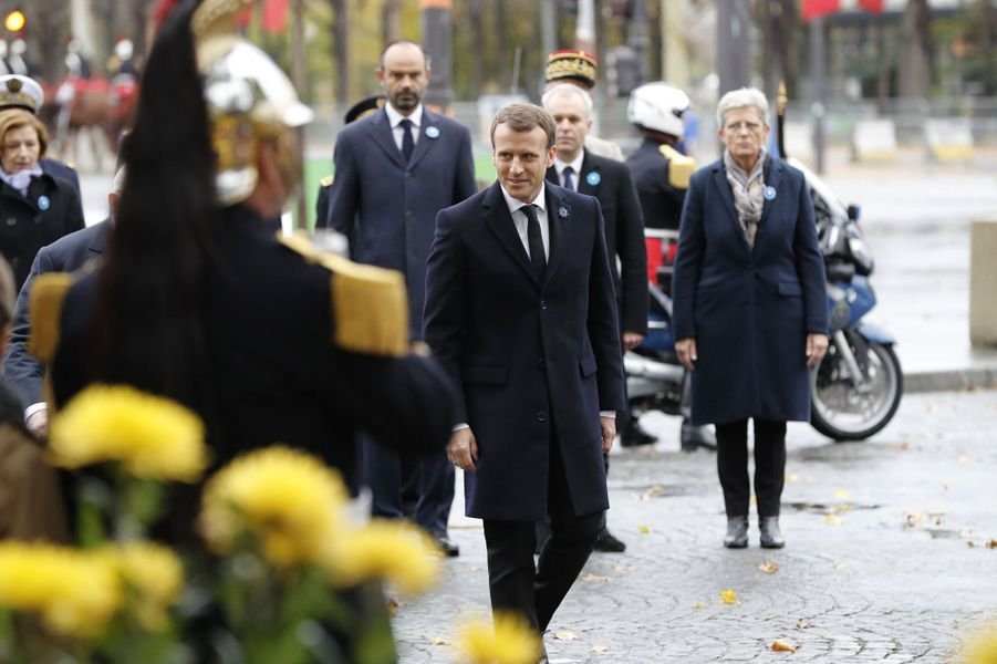 Emmanuel Macron commémoreà Parisson premier 11-novembre en tant que président