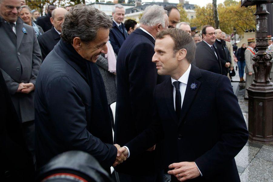Emmanuel Macron et Nicolas Sarkozy le 11 novembre 2017 à Paris