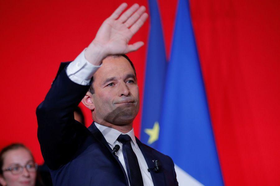Benoît Hamon, dimanche soir lors de sa défaite à la présidentielle.