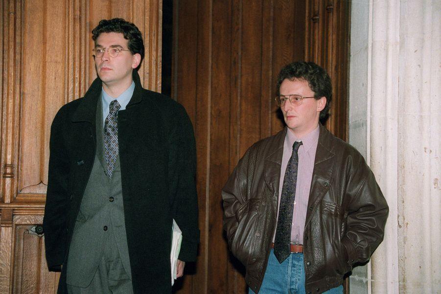 L'avocat Arnaud Montebourg en 1995, aux côtés de son client Jean-Marie Villemin.