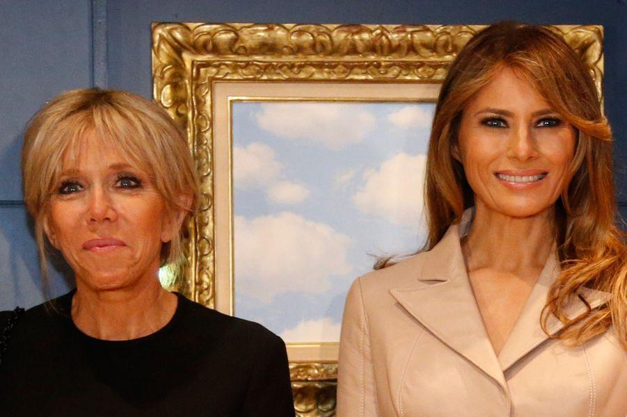 Rencontre entre Brigitte Macron et Melania Trump aumusée Magritte, à Bruxelles.