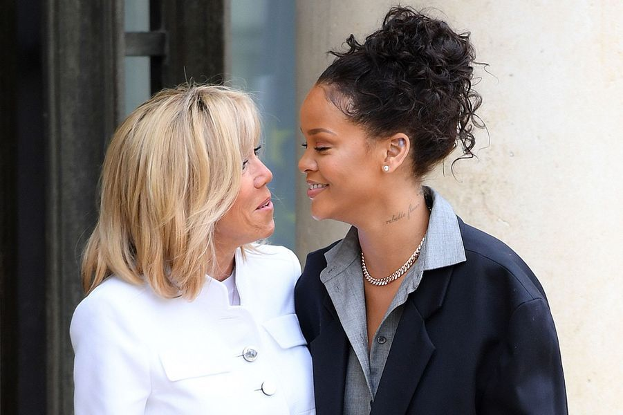 Brigitte Macron et Rihanna à l'Elysée mercredi