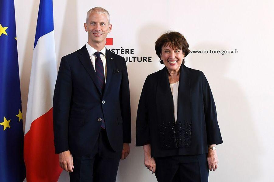 Roselyne Bachelot et Franck Riester au ministère de la Culture.