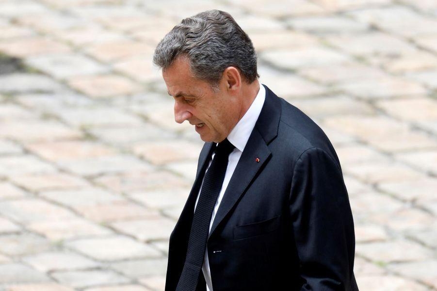 Nicolas Sarkozyaux obsèques de Serge Dassault.