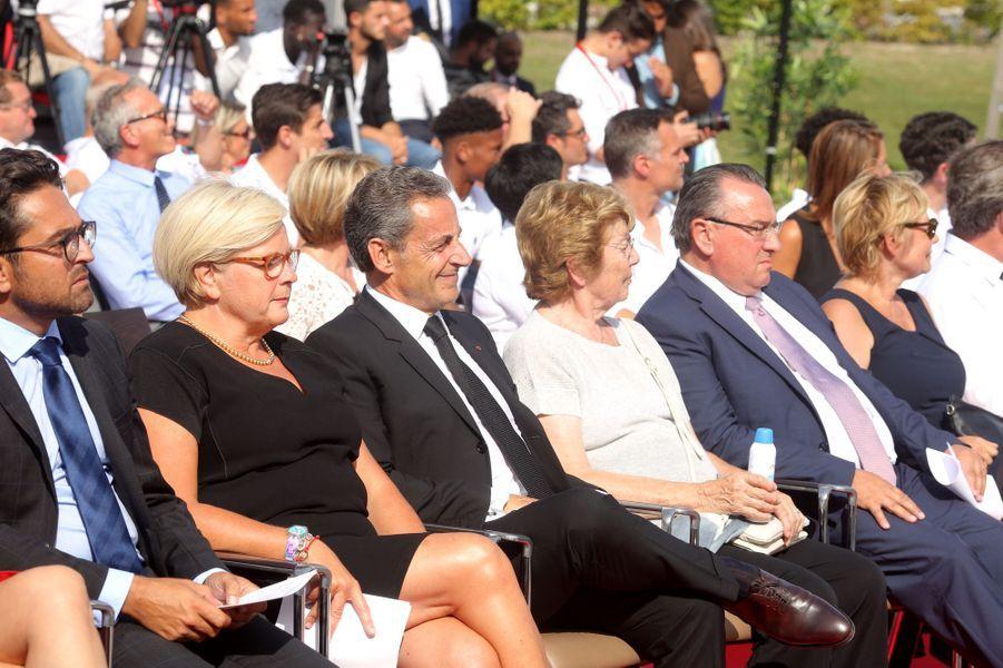 Nicolas Sarkozy lors de l'inauguration du centre de vie «Raymond Kopa» au Stade de Reims.
