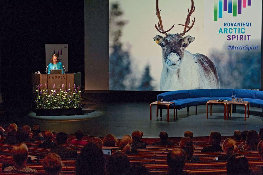 Ségolène Royal à l'ouverture de la conférence sur les enjeux climatiques à Rovaniemi, le 15 novembre.