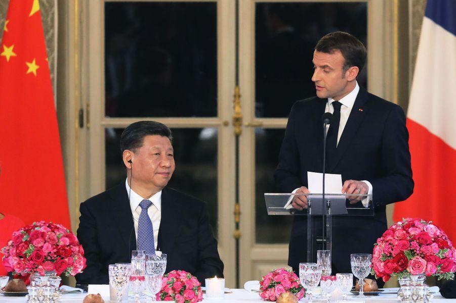 Discours d'Emmanuel Macron lors du dîner d'Etat en l'honneur deXi Jinping et son épouse.
