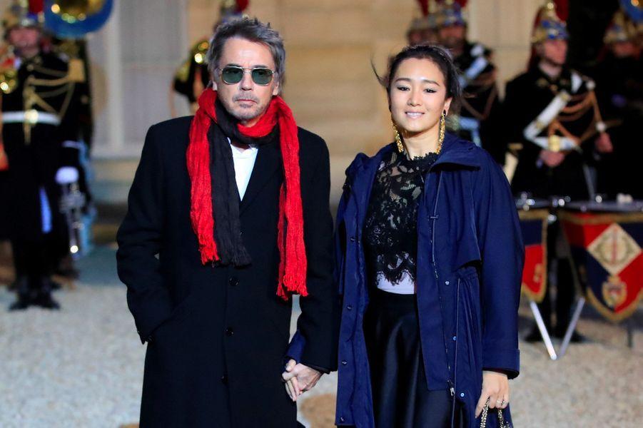 Jean-Michel Jarre et Gong Li à l'Elysée, lundi soir.