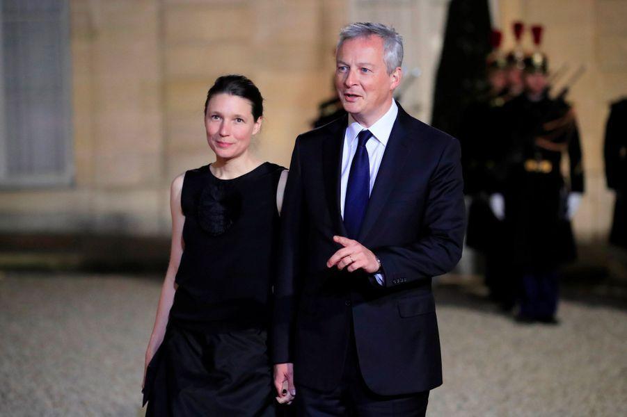Pauline et Bruno Le Maire à l'Elysée, lundi soir.