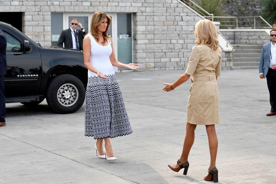 Brigitte Macron et Melania Trump lundi à Biarritz.