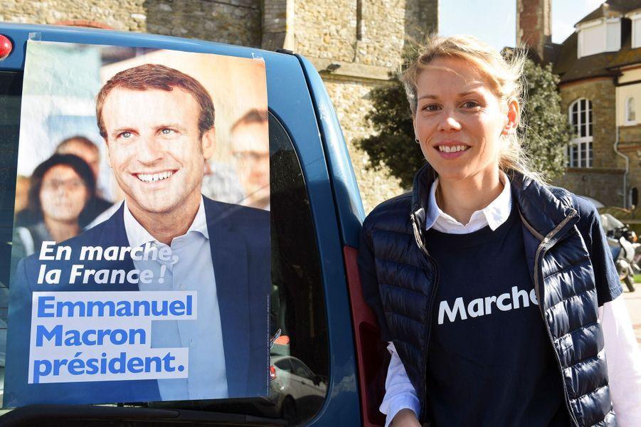 Tiphaine Auziere au Touquet, le 6 avril 2017 pour le premier anniversaire du mouvement crée par Emmanuel Macron.