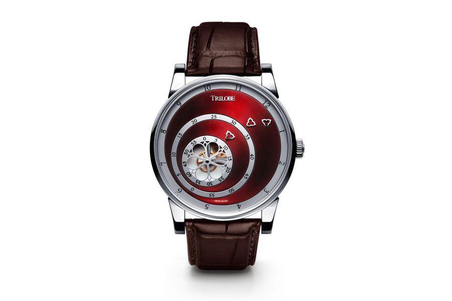 Les Matinaux en acier, 40, 5 mm de diamètre, mouvement automatique, cadran carmin soleillé, bracelet en aligator. 7 320 €.