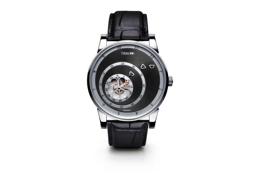 Les Matinaux en acier, 40, 5 mm de diamètre, mouvement automatique, cadran noir soleillé, bracelet en alligator. 7 320 €.